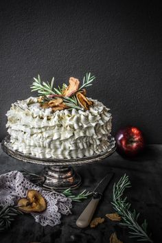 Cinnamon Cake with Apple Rosemary Buttercream