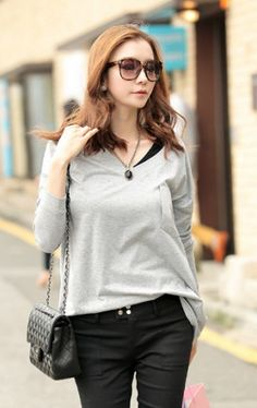 Solid Women V-neck Long Sleeve T-shirt on BuyTrends.com, only price $13.20