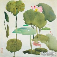 吴冠中 水彩《荷花》,作于1973年。