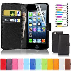 New flip wallet leather case cover for #apple #iphone 5 5s free screen #protector,  View more on the LINK: 	http://www.zeppy.io/product/gb/2/311584975225/