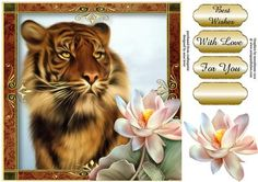 Tiger Lotus on Craftsuprint designed by Anne Lever - This lovely large square topper will fit onto an 8x8 card. It features a fabulous tiger and is embellished with a beautiful lotus flower. It has decoupage, three greetings and a blank greetings tile. The greetings are best wishes, for you and with love.  - Now available for download!