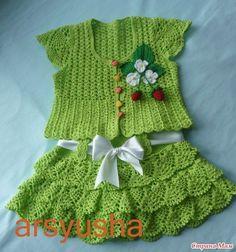 Delicadezas en crochet Gabriela: Hermoso conjunto para el bebé