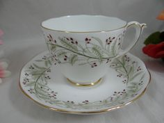 """Vintage Roslyn Hand Decorated English Bone China Teacup """"Whispering Grass""""  English Teacup and Saucer set - Delightful Tea Cup"""