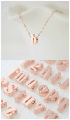 rose gold lowercase initial necklace