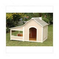 Precision Pet Outback Savannah Dog House with Porch - Dog Houses at Dog Houses Dog House With Porch, Wood Dog House, Luxury Dog House, Canis, Image Designer, Insulated Dog House, Dog House Plans, Cat Enclosure, Animal House