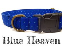Blue Polka Dot Dog Collar  Organic Cotton  Antique by veryvintage