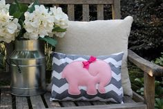 Pink Elephant Pillow - Grey Chevron -  Nursery Accessories, Girls Room, Baby Shower Gift, Home Decor, Accent Pillow 12x16