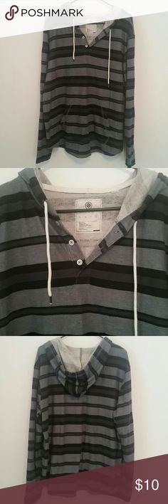 Men's lightweight pullover hoodie On the Byas men's XL multi shade grey & black striped sweatshirt with buttons, drawstring hood and front pocket. Washed but never worn. No flaws :) on the byas Shirts Sweatshirts & Hoodies