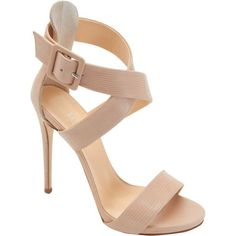 Barneys New York Crisscross-Strap Sandals ($179) ❤ liked on Polyvore featuring shoes, sandals, heels, chaussures, nude, ankle strap heel sandals, nude heel sandals, criss-cross sandals, ankle tie sandals and open toe sandals