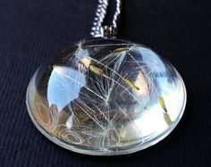 Dandelion Seed Necklace - Real Dandelion Pendant - Resin Dandelion - Dandelion Seed  - Clear Pendant - Paperweight Jewelry - Gifts for her