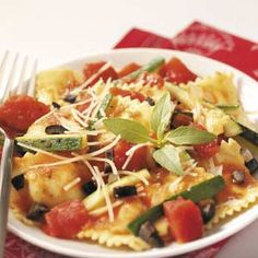 Veggie Cheese Ravioli Recipe -Have the best of both worlds with this easy weeknight dish from Gertrudis Miller of Evansville, Indiana. It tastes really light and refreshing but the ravioli makes it hearty and filling.