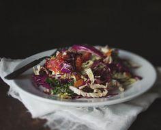 paleo cabbage & blood orange salad w/ ginger vinaigrette Healthy Food Blogs, Good Healthy Recipes, Healthy Foods To Eat, Raw Food Recipes, Healthy Cooking, Vegetarian Recipes, Healthy Eating, Amazing Recipes, Salad Bar