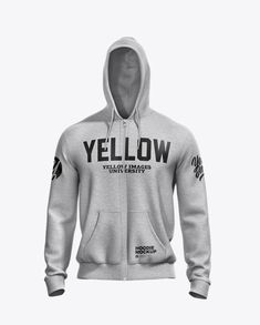 Melange Men's Full-Zip Hoodie Mockup – Front View