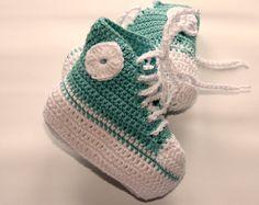 Baby booties Crochet cotton baby sneakers by crochetyknitsnbits, £14.99