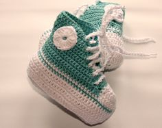 Baby booties Crochet cotton baby sneakers by crochetyknitsnbits, £14.99