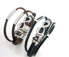 Vintage Infinity Symbol Unisex Leather Bracelets