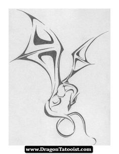 Dragon Tattoo Designs - The Body is a Canvas Tribal Dragon Tattoos, Small Dragon Tattoos, Dragon Tattoo Designs, Small Tattoos, Cool Tattoos, Dragon Tattoo Design Simple, Awesome Tattoos, See Tattoo, Tatoo Art