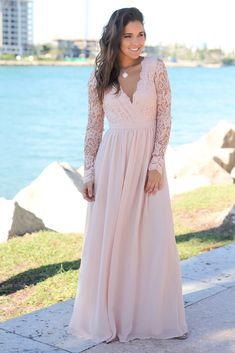 8b9daa159b Blush Crochet Maxi Dress with Open Back and Long Sleeves