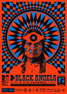 The Black Angels Concert Poster at La Zona Rosa- Austin, Tx Aug 2009 hand made 3 color silkscreen print on heavy paper poster measures 20 inches x 28 inches signed and numbered edition of 50 artist: Bigger Than Giants Poster Art, Kunst Poster, Gig Poster, Rock Posters, Band Posters, Film Posters, Psychedelic Music, Psychedelic Posters, Posters Vintage