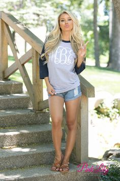 Our stylish monogram raglan tees are a perfect way to show off your monogram! With a comfortable fabric, cute color combinations, and 3/4 sleeves, you're going to love this varsity styled look! It's great for cooler spring or fall days in the backyard! You can wear it with shorts, capris, or jeggings for a fashionable look! We offer a wide variety of colors and vinyl options to match your favorite colors!