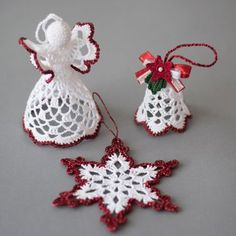 Gorgeous christmas set of 3 crocheted ornaments it is available in gold silver red and green colors of edging a must have for every home at christmas handmade christmas ornaments made with high quality cotton thread and lame thread in a smoke free and pet Crochet Christmas Decorations, Christmas Crochet Patterns, Crochet Christmas Ornaments, Crochet Decoration, Holiday Crochet, Handmade Christmas, Christmas Crafts, White Christmas, Crochet Snowflake Pattern