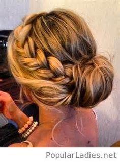Loose up-do and braids cute bridesmaid hair
