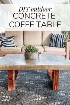 How to make a DIY feather finish concrete table for your back porch. This outdoo… How to make a DIY feather finish concrete table for your back porch. This outdoor coffee table is gorgeous and a DIY version of World' Market's Palmera coffee table! Concrete Coffee Table, Outdoor Coffee Tables, Diy Coffee Table, Diy Concrete, Concrete Outdoor Table, Diy Outdoor Table, Outdoor Decor, Outdoor Projects, Outdoor Ideas