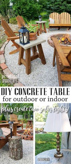 Build this DIY concrete table for less than $30. PLUS, create the solar lamps for under $5 each. You can't beat it! Build plans and tutorials at Prodigal Pieces | prodigalpieces.com