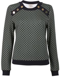 #BaumundPferdgarten Janet Top - gorgeous printed jersey with gold buttons at front! #Newseason #Danish #fashion
