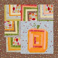 Fun fall prints and wonky pieced blocks make up a whimsical autumn wall hanging.  A pumpkin block in warm hues of orange pops off the quilt for a bright seasonal design.  Inspired by Wacky Jack fro...