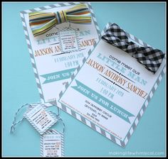 Attach a bow tie to the invite! Have guests wear the bow tie to the shower! www.makinglifewhimsical.com