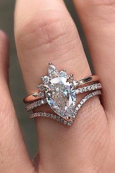 Moonstone engagement ring set rose gold engagement ring vintage Curved Diamond wedding band women Stacking Bridal Anniversary gift for her - Fine Jewelry Ideas Pear Cut Engagement Rings, Morganite Engagement, Engagement Ring Settings, Vintage Engagement Rings, Country Engagement, Unique Wedding Bands, Pear Wedding Bands, Blue Wedding Rings, Wedding White