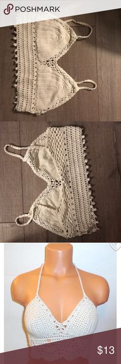 Beige crotchet crop top Super cute crotchet in perfect condition.        Selling because Its too big on me.                   The last picture is not the exact same top as the one I'm selling and is just a reference of how it would look on Ecote Tops Crop Tops