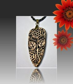 Polymer clay Black Victorian Pendant by BeadazzleMe on Etsy,