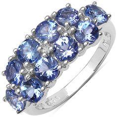 Malaika Sterling Silver 2-row Tanzanite Ring
