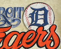 Detroit Tigers ,baseball Print, with Mat,  wall hanging, faux vintage, sports decor