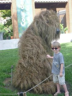 Montreal Botantical Garden--  living dog sculpture--  Labradoodle