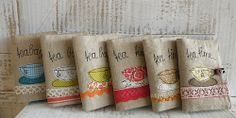 Appliqué and lace tea wallets (photo only)
