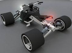 employing an adjustable wheelbase, the C-naptiK quad can alternate between a high center of gravity and quick turning speed — good for urban riding. Custom Street Bikes, Custom Bikes, Custom Cars, Electric Bicycle, Electric Scooter, Electric Cars, Electric Go Kart, E Biker, Go Kart Plans