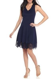 Donna Ricco New York Women's Fit-And-Flare Lace Hem Dress - Spring Navy - 12