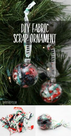Make a DIY ornament for the fabric lover in your life - fill a simple glass ball with fabric scraps! This is a festive way to display some of your projects from the year, and a cheap DIY Christmas ornament!