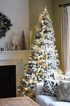 Flicked Christmas Tree Decorations 2021 26 Flocked Fake Christmas Trees Ideas Fake Christmas Trees Christmas Christmas Tree