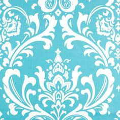 Ozborne Girly Blue Damask Home Decorating Fabric - Premier Prints 11.24 yrd