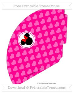 Free Magenta Heart Pattern  Minnie Mouse Treat Cone