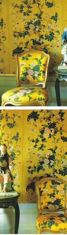 yellow, green, prints, chinoiserie, wallpaper