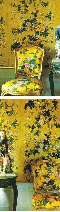yellow, green, prints, chinoiserie, wallpaper
