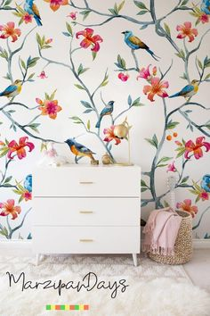 Birds on branches removable wallpaper wildlife birds in a colorful wall decor printed on a high quality fabric Textured Walls, Removable Wallpaper, Traditional Wallpaper, Wall Decor, Wallpaper, Home Decor, Cleaning Walls, Decorating Your Home, Wallpaper Samples