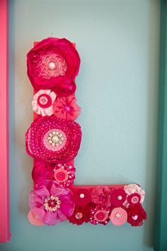 "This is sooo cute! Would love this for Zoes ""big girl room"" as well :)      Custom flower Wall LETTER choose from 4 colors by westeightythird, $35.00"