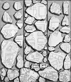 The Forma Urbis Romae, or Severan Marble Plan, was an immense 3rd century map of the city of ancient Rome, carved into 150 adjoining slabs of marble and covering a wall rising over four stories tall. It was created at an approximate scale of 1:240 and measured 60' wide by 45' high. The map depicted the location of the buildings and structures that existed in central Rome...