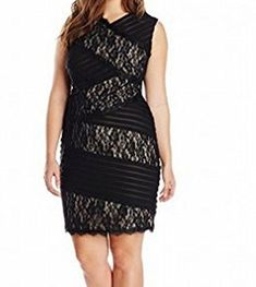Jax Womens PlusSize VNeck Mixed Lace and Shutter Pleat Sheath Dress Black 20 >>> Find out more about the great product at the image link. (This is an affiliate link) #FashionDresses
